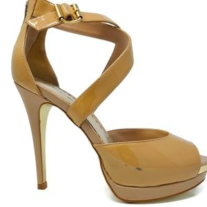 Bebe Gold Tan Patent Platform Heels Size 8M